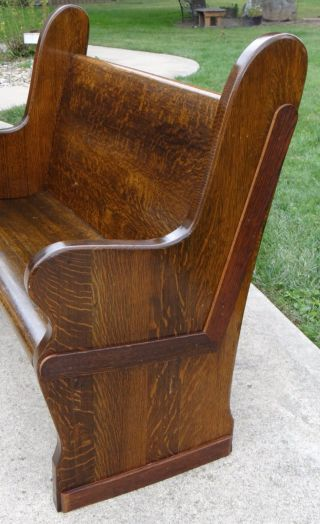 Antique Tiger Oak Church Pew Grain Striped Wood Custom Sizing photo