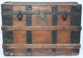 Antique Steamer Trunk Flat Top Victorian Wood Chest Co - Operative Trunk & Bag Co. photo
