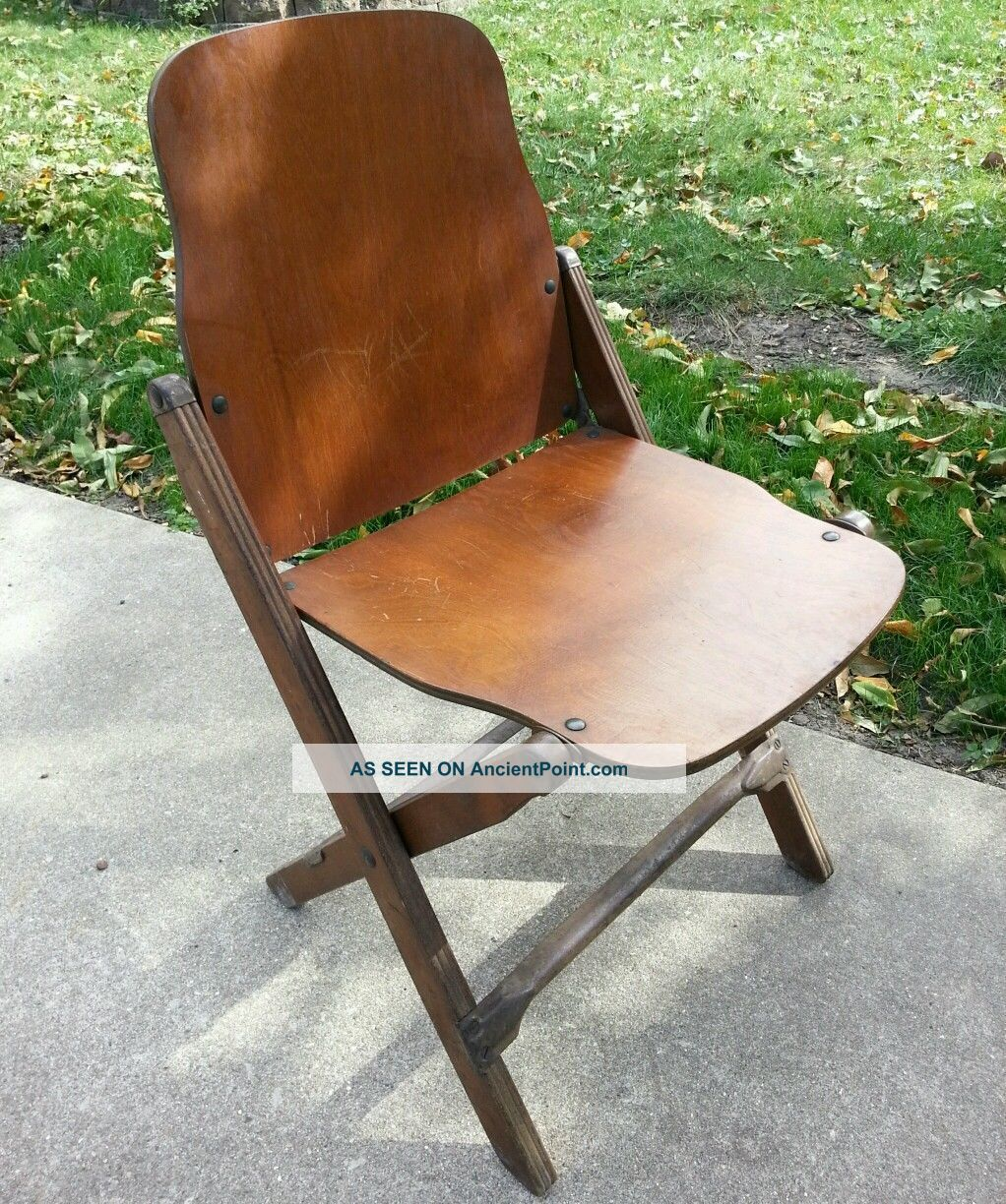 Antique Vintage American Seating Company Wood Folding Chair Very Rare Piece