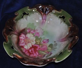 Lovely Antique Floral Bavarian Gilded Fruit Bowl photo
