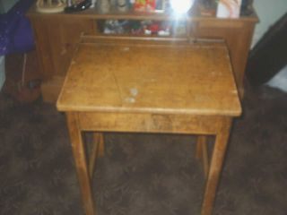 Vintage Retro Wooden Childs School Desk No Post Pick Up Only photo