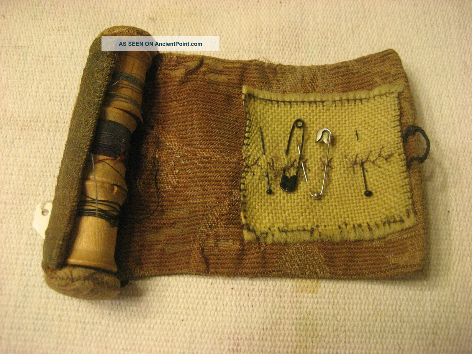 Early 1800s Handmade Out Of Fabric Sewing Kit With Bone Button Close Other Antique Sewing photo
