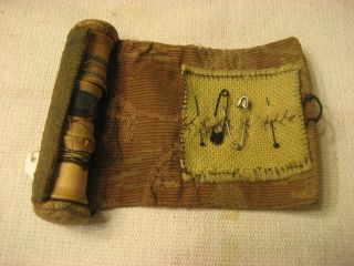 Early 1800s Handmade Out Of Fabric Sewing Kit With Bone Button Close photo