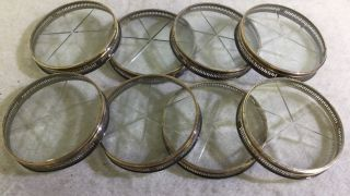 Vintage 8 Sterling Silver & Cut Crystal Coasters Neoclassical By Webster photo