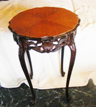 Round French Carved End Table Night Stand Inlay Marquetry Top photo
