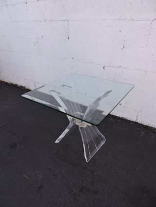 Mid - Century Lucite Beveled Glass - Top Side Table 7189 photo