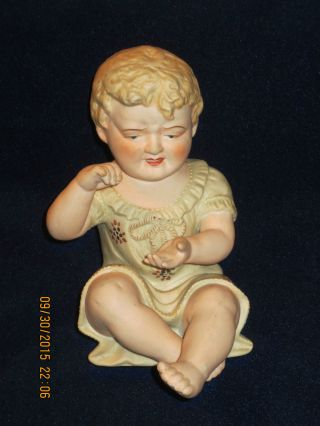 Antique Porcelain Bisque Piano Baby Figurine Blonde Girl Cries 23/110 photo