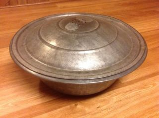 Vtg Antique Large Metal Bread Kneading/ Rising Pan W/ Vented Lid 18 1/2