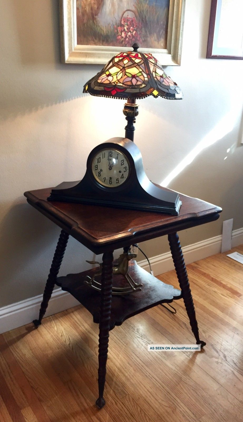 Antique Tiger Oak Glass Ball & Claw Two Tier Spindle Parlor Table Unknown photo