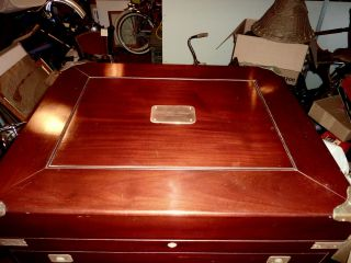 Incredible Massive Mahogany Silver Captain ' S Storage Chest Casket Dated 1906 photo