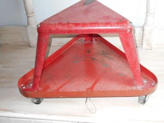 Vintage Red Rolled Steel Shop Stool Rolling Industrial Mechanics Storage Heavy photo