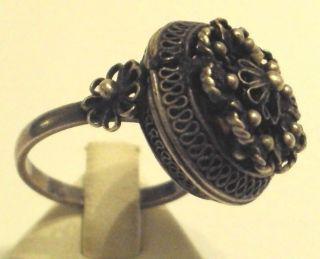 Post - Medieval Silver Ring With Filigree 616 photo