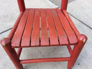 Vtg Child ' S Children ' S Slat Seat Chair Red Ladder Back Wooden Chair 22 1/2