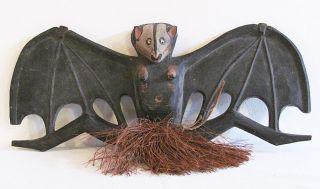 Ethnic Tribal Folk Art Papua Guinea Primitive Wooden Bat Sculpture photo