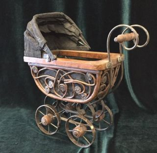 Antique Victorian Style Metal/wicker/wood,  Toy/baby Doll Carriage/stroller/buggy photo