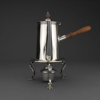 Antique Victorian Solid Sterling Silver Chocolate Pot On Stand With Burner,  1901 photo