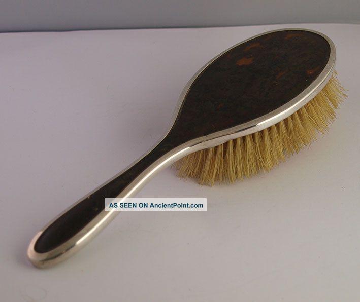 Solid Silver & Faux Tortoiseshell Hair Brush - Henry Matthews - 1927 Brushes & Grooming Sets photo