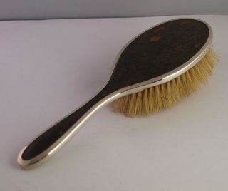 Solid Silver & Faux Tortoiseshell Hair Brush - Henry Matthews - 1927 photo