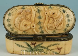 Lovely Chinese Old Hand Carved Two Fish Statue Figure Jewelry Box Collectables photo