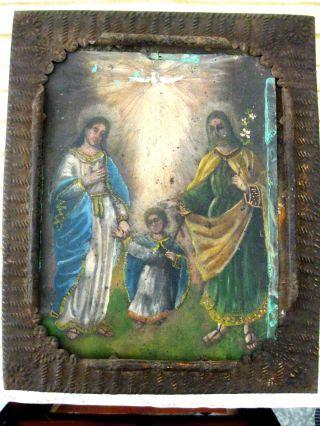 Antique Retablo On Tin Nicho Painting Image Of Holy Family photo