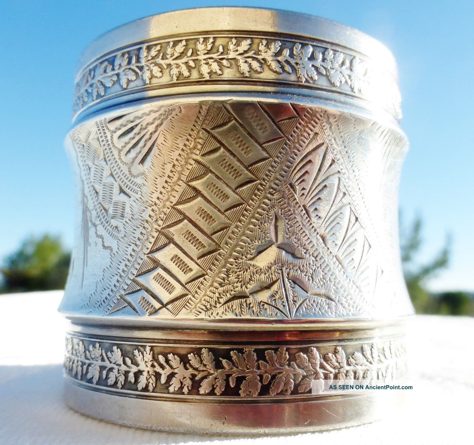 Antique 1800s Large Etched Sterling Silver Napkin Ring Gorham Napkin Rings & Clips photo