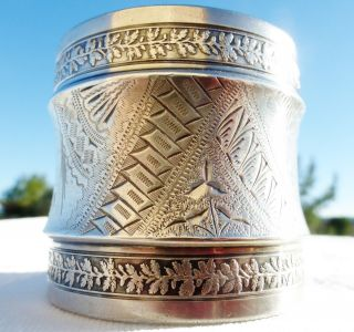 Antique 1800s Large Etched Sterling Silver Napkin Ring Gorham photo