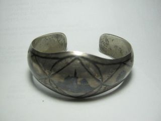 Vintage Arab Solid Silver Bracelet With Nielo - Hand Made photo