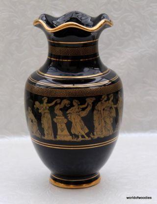 Greek 24kt Dark Blue & Gold 9 Inch Vase photo