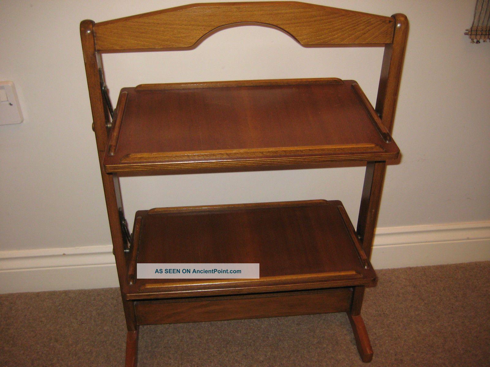 Vintage Elegant Wooden 2 Tier Folding Cake Stand. Stands photo