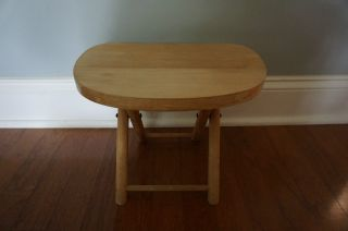 True Vintage Nevco Fold N Carry Wooden Stool Made In Yugoslavia 9.  5