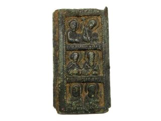 Late Byzantine,  Early Medieval Bronze Small Icon With Six Saints, photo