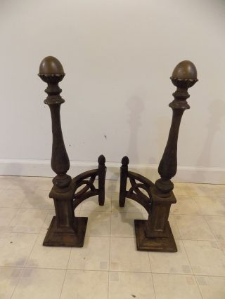 Antique Vintage Victorian Cast Iron Andirons Firedogs With Brass Acorn Finials photo
