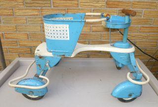 Rare Vtg 1950 ' S Taylor Tot Blue & White Baby Stroller Walker - Blue Fenders photo
