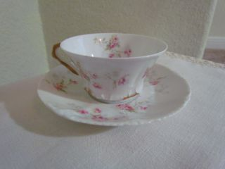 Theodore Haviland Limoges Teacup & Saucer Embossed Design Pink White Yellow photo