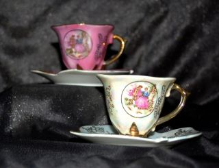 Two Antique Tea Cup And Leaf Shaped Saucer - Victorian Couple photo