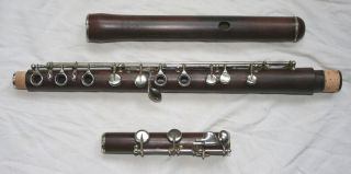 Rare Antique 19th French Wooden Flute Boehm System photo