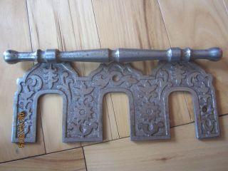 Antique Victorian Cast Iron Piano 3 Pedal Cover Plate Eastlake Triple Bracket photo