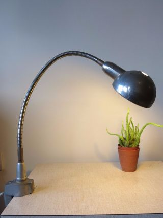 Vintage French Industrial Loft Bauhaus Style Factorytask Clamp 20th Century Lamp photo