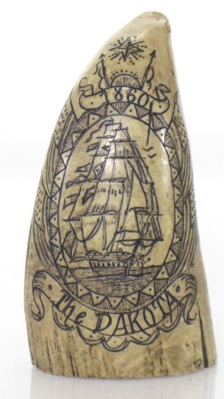 Vtg Resin Scrimshaw Tooled Whale Tooth The Dakota 1860 Clipper Ship Nautical 4