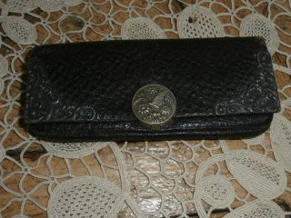 Antique Sterling Silver And Pebbled Leather Butterfly Coin Purse Wallet photo