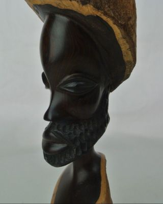 African Afro Woodcarved Man Bearded Black Power Justice Freedom Statue Sculpture photo