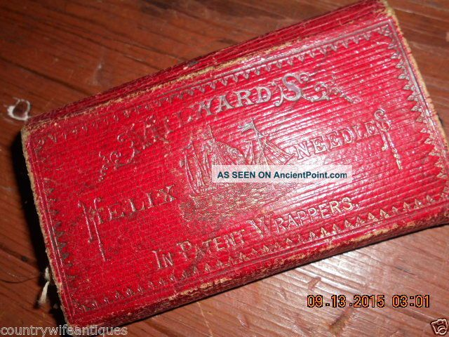 Mid 19th Century Red Leather Folding Sewing Kit W Needle Packets Pat 1857 Other Antique Sewing photo