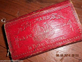Mid 19th Century Red Leather Folding Sewing Kit W Needle Packets Pat 1857 photo