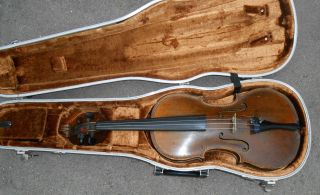 Fine Antique Full Size Violin In Case Fancy Perfling Mother Of Pearl Inlay photo