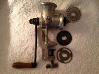 Vintage Keystone 20 Meat Grinder With Wood Handle 3 Plates C I Co Boyertown Pa photo