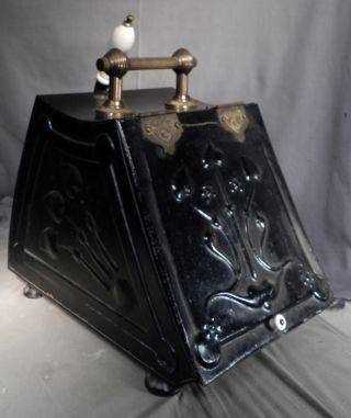 Antique Victorian Art Nouveau Crafts Emboss Tin Brass Porcelain English Coal Hod photo