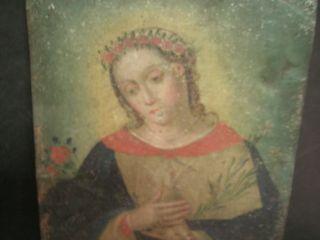 Antique Spanish Retablo On Tin