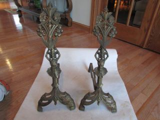 Vintage Andirons Art Deco Cast Iron Gold Egyptian Revival Figure photo