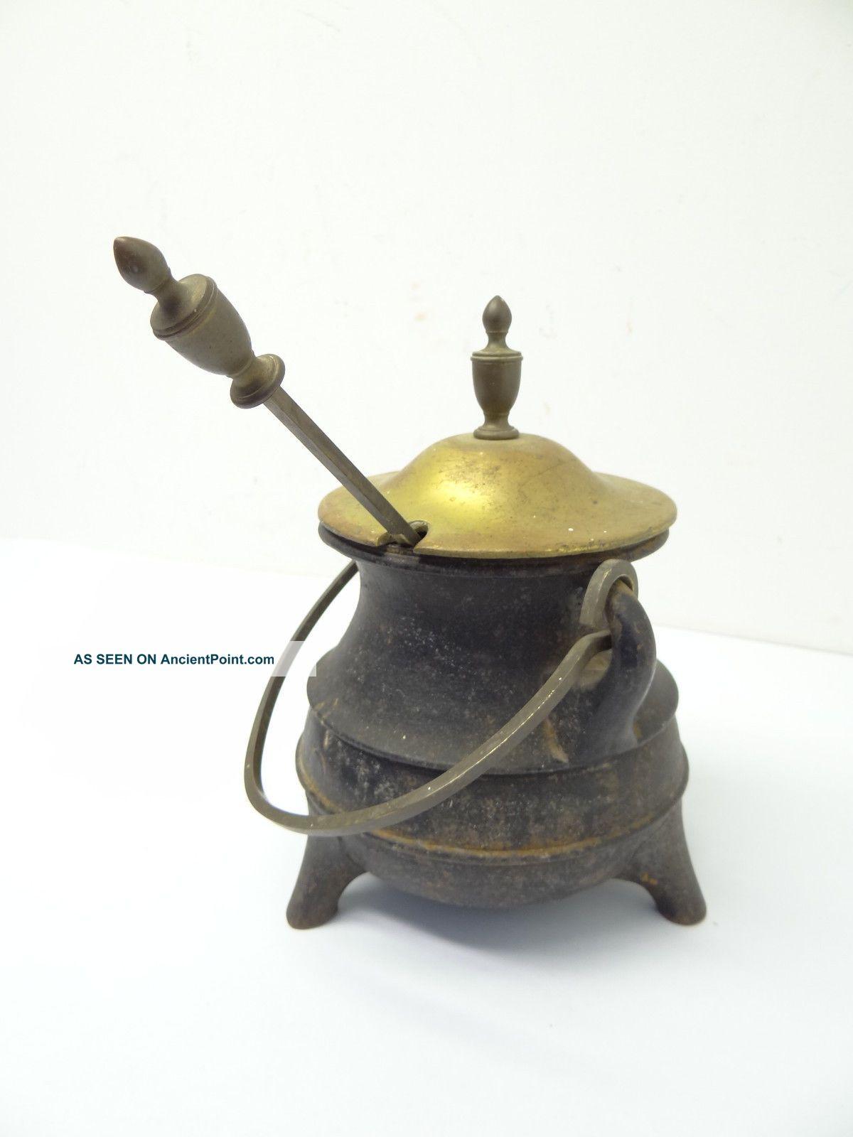 Antique Old Metal Cast Iron Brass Top Fireplace Fire Starter Ash Roller Pot Tool Hearth Ware photo