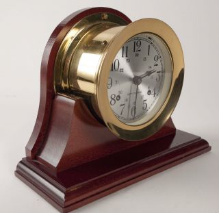 Vintage Seth Thomas Corsair Brass Maritime Ships Clock With Art Deco Wood Base photo